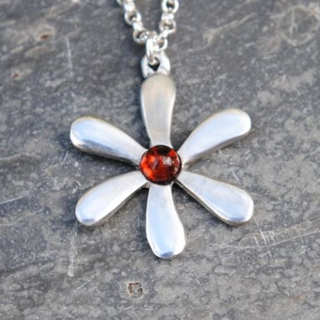 Jasmine flower pendant necklace with amber gem P22